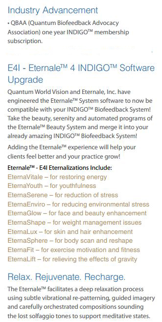 Indigo biofeedback system plus Eternale beauty system, part3